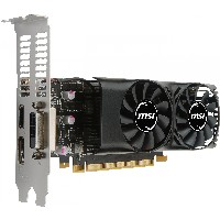 GTX 1050Ti 4GB MSI 4GT LP inkl. Blende - Dual Slot - 2Fan 1xDVI/1xDP/1xHDMI