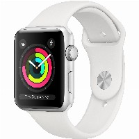 TELW AppleWatch Series3 GPS, 42mm Silver Aluminium Case with White Sport Band