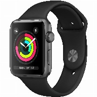 TELW AppleWatch Series3 GPS, 42mm Space Grey Aluminium Case with Black Sport Band