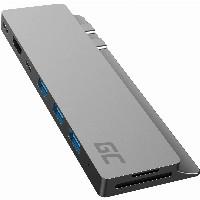 GreenCell Dockingstation Macbook Air/Pro 2016-2020 USB-C 3xUSB3.0 HDMI 4K Thunderbolt 3 5K SD Micro SD 8 Ports Silver