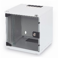 "NWS Wandschrank 10"" 6HE 254mm Digitus Farbe Grau (RAL 7035) Glastür"