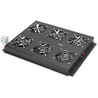 NWSZ Dachlüftereinheit Digitus für Unique Serverschränke 6 Lüfter, Schalter, Thermostat, 828 m³ zirk./h, Farbe black (RAL 9005)