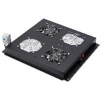 NWSZ Dachlüftereinheit Digitus für Netzwerkschränke 2 Lüfter, Schalter, Thermostat, 276m³ zirk./h Farbe black RAL 9005